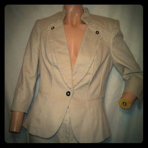 WHBM Beige Legacy Twill Pant Suit Sz 6R